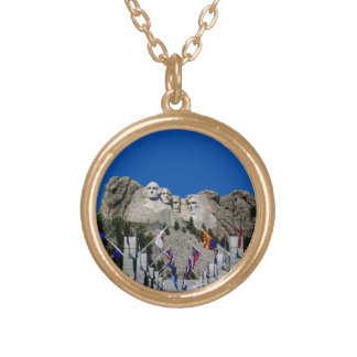 Mount Rushmore Customizable Photo Souvenir Gold Plated Necklace