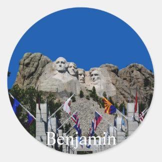 Mount Rushmore Customizable Photo Souvenir Round Sticker