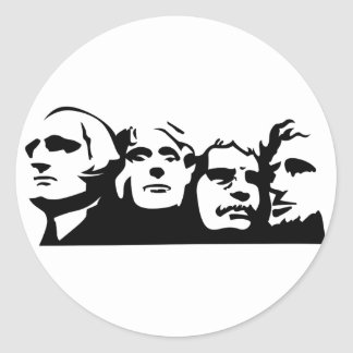 Mount Rushmore Outline Classic Round Sticker