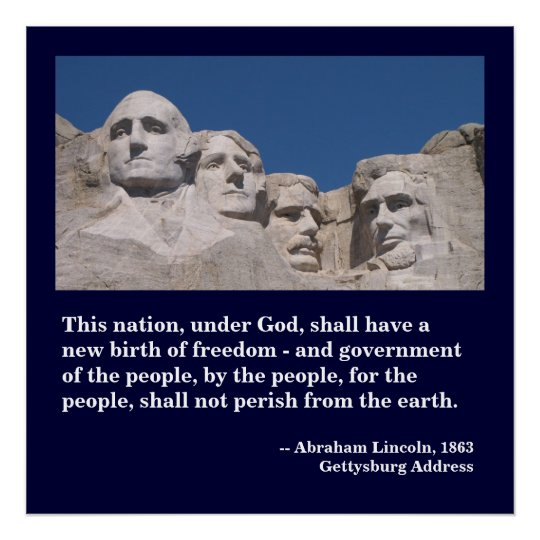 Mount Rushmore Poster with Gettysburg Address