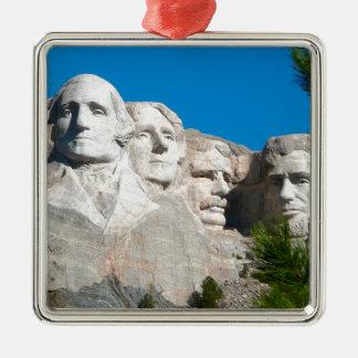 Mount Rushmore Rocks! Mount Rushmore, South Dakota Silver-Colored Square Decoration