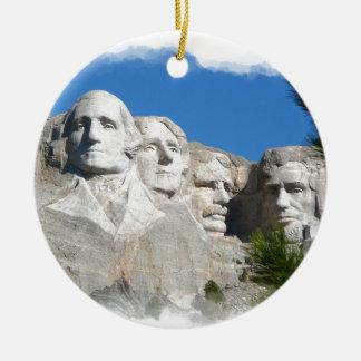 Mount Rushmore Round Ceramic Decoration