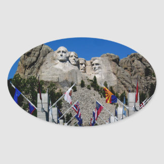 Mount Rushmore South Dakota Flag Souvenir Oval Sticker