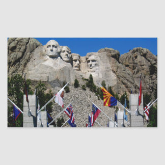 Mount Rushmore South Dakota Flag Souvenir Rectangular Sticker