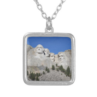 Mount Rushmore South Dakota Presidents USA America Silver Plated Necklace