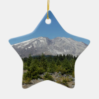 Mount Saint Helens wide angle early summer Double-Sided Star Ceramic Christmas Ornament