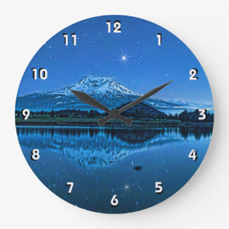 MOUNT SHASTA BY STARLIGHT LARGE CLOCK