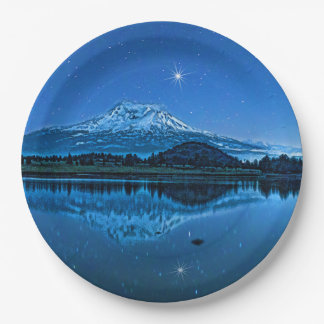 MOUNT SHASTA BY STARLIGHT PAPER PLATE