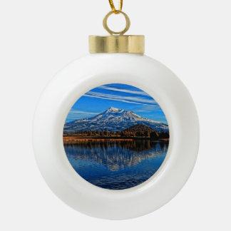 MOUNT SHASTA CERAMIC BALL CHRISTMAS ORNAMENT