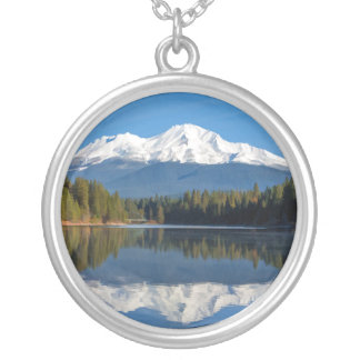 MOUNT SHASTA REFLECTED SILVER PLATED NECKLACE
