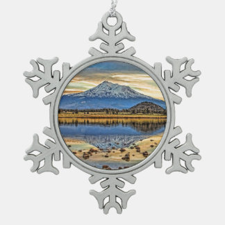 MOUNT SHASTA REFLECTED SNOWFLAKE PEWTER CHRISTMAS ORNAMENT