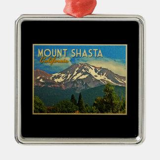 Mount Shasta Vintage Silver-Colored Square Decoration