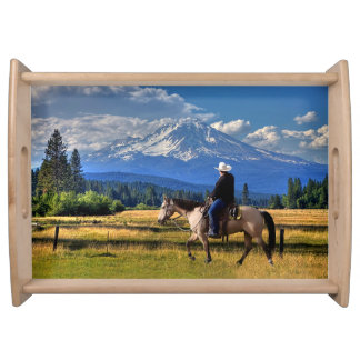 MOUNT SHASTA WITH A HORSE AND RIDER SERVING TRAY