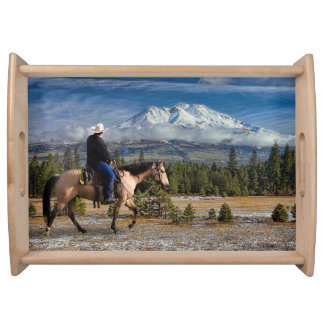 MOUNT SHASTA WITH HORSE AND RIDER SERVING TRAY