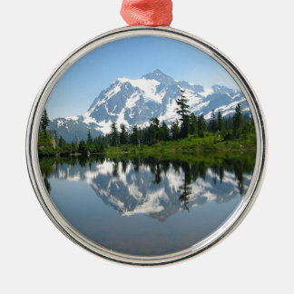 Mount Shuksan Silver-Colored Round Decoration