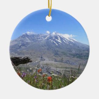 Mount St. Helens Round Ceramic Decoration