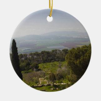 Mount Tabor, site of biblical transfiguration Round Ceramic Decoration