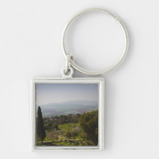 Mount Tabor, site of biblical transfiguration Silver-Colored Square Key Ring