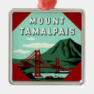 Mount Tamalpais Travel Poster Silver-Colored Square Decoration