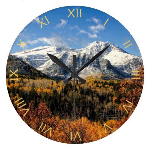 Mount Timpanogos in Autumn Utah Mountains Wall Clocks