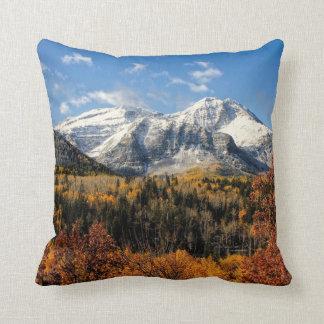 Mount Timpanogos in Autumn Utah Mountains Cushion
