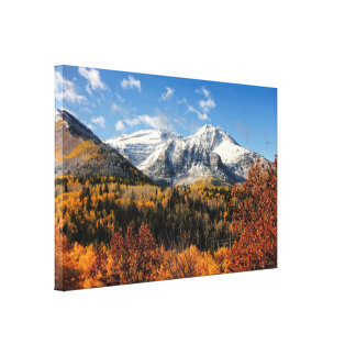 Mount Timpanogos in Autumn Utah Mountains Gallery Wrapped Canvas