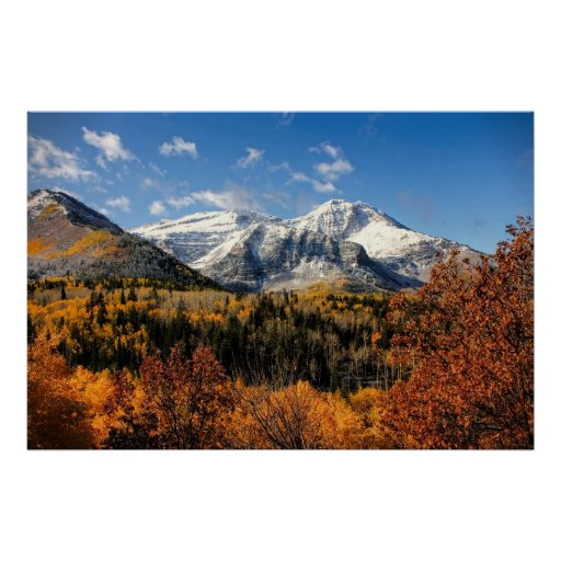 Mount Timpanogos in Autumn Utah Mountains Posters