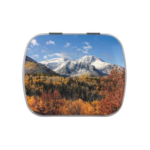Mount Timpanogos in Autumn Utah Mountains Jelly Belly Tin