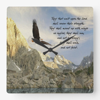 Mount Up With Wings As Eagles Isaiah 40 Square Wall Clock