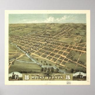 Mount Vernon Ohio 1870 Antique Panoramic Map Poster