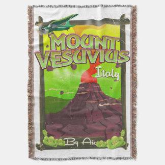 Mount Vesuvius Italian cartoon volcano Throw Blanket