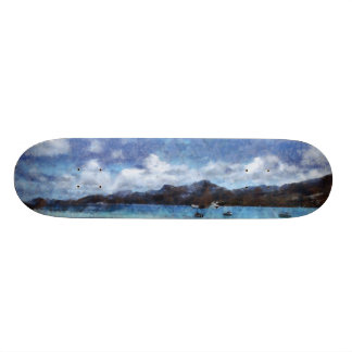 Mountain and boats on the beach 21.6 cm skateboard deck
