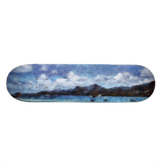 Mountain and boats on the beach skate board