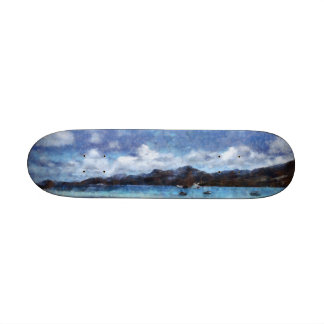 Mountain and boats on the beach skate board decks