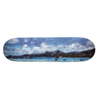 Mountain and boats on the beach 20.6 cm skateboard deck
