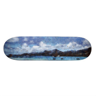 Mountain and boats on the beach skateboard
