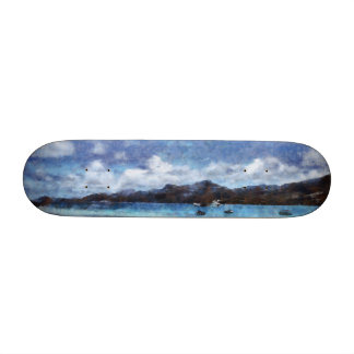 Mountain and boats on the beach 21.6 cm old school skateboard deck