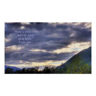 Mountain and Clouds HDR Print w/Scripture Verse