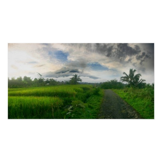 Mountain and Ricefields Poster