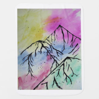 Mountain art baby blanket