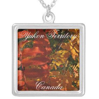 Mountain Ash in the Fall; Yukon Territory, Canada Square Pendant Necklace