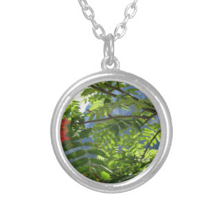 Mountain ash Sorbus Bush with red berries Round Pendant Necklace