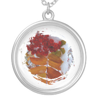 Mountain Ash Under First Snow Round Pendant Necklace