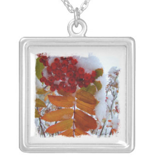 Mountain Ash Under First Snow Square Pendant Necklace