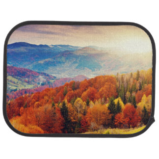 Mountain autumn forest landscape car mat