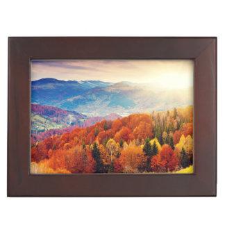 Mountain autumn forest landscape keepsake box
