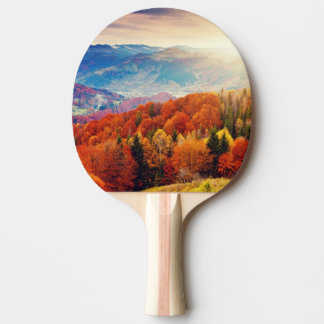 Mountain autumn forest landscape ping pong paddle