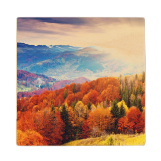 Mountain autumn forest landscape wood coaster