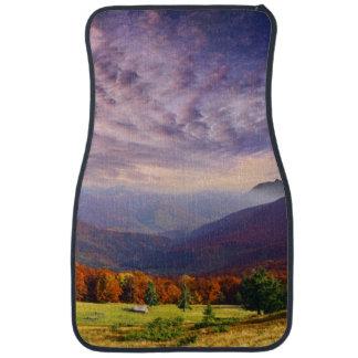 Mountain autumn landscape with forest 2 car mat