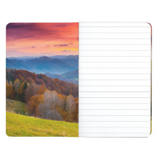 Mountain autumn landscape with forest journal